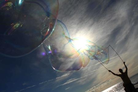 Riesenseifenblasen mittelgroßer Drilling Spielzeug Seifenblasenfabrik